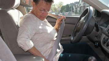 Helen Kessler, 76, of Columbus, Ohio fastens her seatbelt before driving. Researchers at The Ohio State University Wexner Medical Center are teaming up with industry partners to study outdated seatbelt designs in an effort to better protect the 36 million American drivers over age 65.
