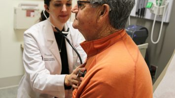 Fred Cubbison is examined by Dr. Ashley Rosko at Ohio State`s James Cancer Hospital and Solove Research Institute, where a new clinic has opened that bases patient treatment options on their fitness level, not just their age.